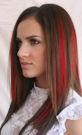 Hair Color with Red Streaks